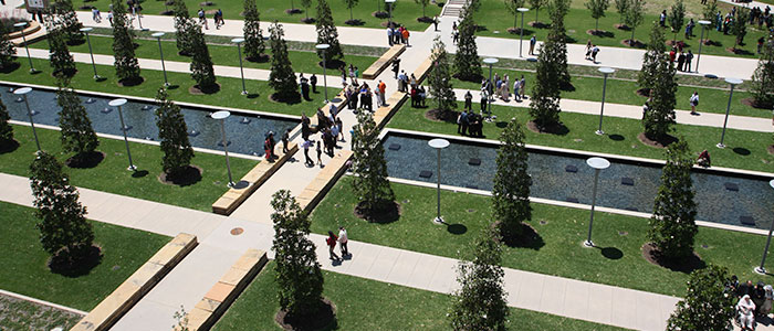 aerial photo of Student Union Mall